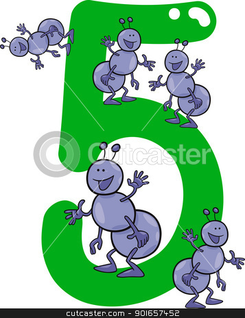 number five and 5 ants stock vector clipart, cartoon illustration with number five and ants by Igor Zakowski