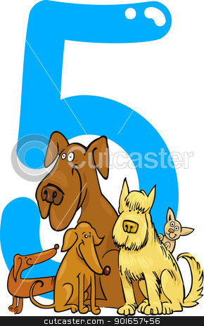 number five and 5 dogs stock vector clipart, cartoon illustration with number five and dogs by Igor Zakowski