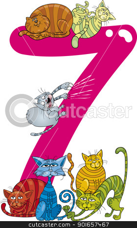 number seven and 7 cats stock vector clipart, cartoon illustration with number seven and cats by Igor Zakowski
