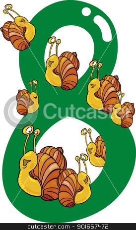 number eight and 8 snails stock vector clipart, cartoon illustration with number eight and snails by Igor Zakowski