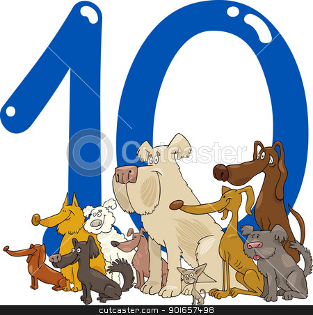 number ten and 10 dogs stock vector clipart, cartoon illustration with number ten and group of dogs by Igor Zakowski