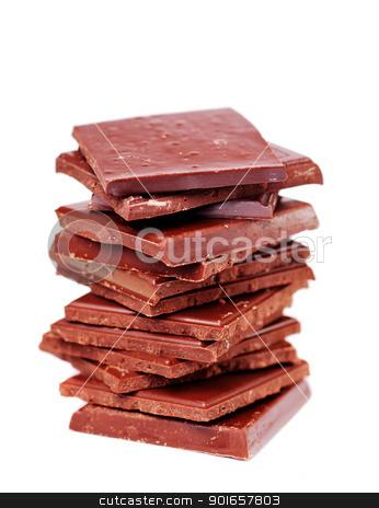 Chocolate stock photo, Chocolate on white background by bakelyt