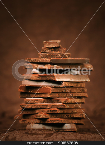Chocolate stock photo, Cocolate in beautiful brown background by bakelyt