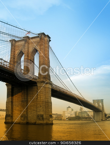 brooklyn bridge stock photo, brooklyn bridge colored photo taken from manhattan by Robert Remen