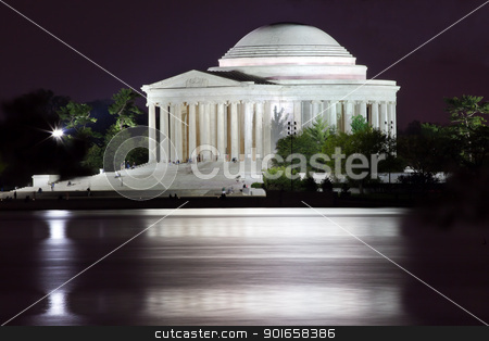 Jefferson Memorial and Tidal Basin Evening stock photo, Jefferson Memorial and Tidal Basin in April with Reflection by William Perry