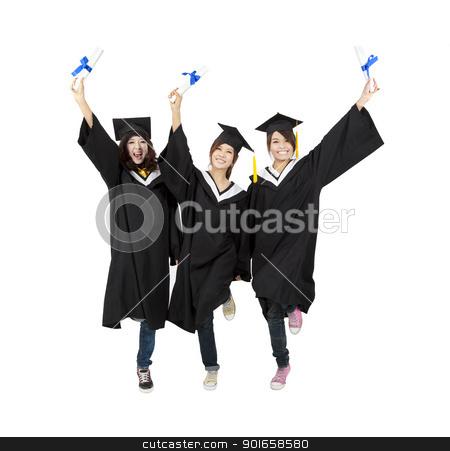 three happy asian graduation student isolated on white stock photo, three happy asian graduation student isolated on white by tomwang