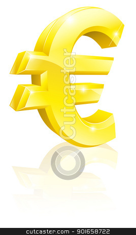 Euro currency sign stock vector clipart, Illustration of a big shiny gold Euro currency sign by Christos Georghiou