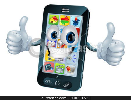 Happy mobile phone mascot character stock vector clipart, Black mobile phone mascot character cartoon illustration giving a thumbs up  by Christos Georghiou