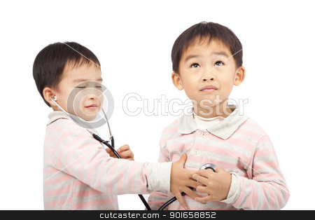 two boys using stethoscope Check the heartbeat stock photo, two boys using stethoscope Check the heartbeat by tomwang