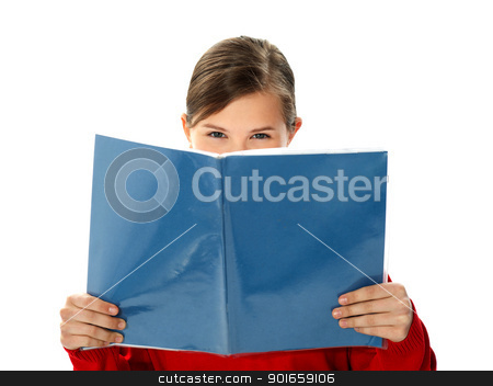 Intelligent school girl reading study book stock photo, Intelligent school girl reading her study book isolated on white background by Ishay Botbol
