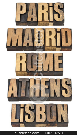 Paris, Madrid, Rome, Athens and Lisbon stock photo, Paris, Madrid, Rome, Athens and Lisbon - selected capital cities of Europe - a collage of isolated words in vintage letterpress wood type by Marek Uliasz