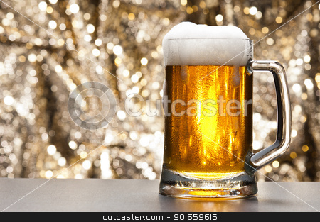 Beer mug in front of a glittering background stock photo, Beer mug in front of a glittering background with a cool beer by Ulrich Schade