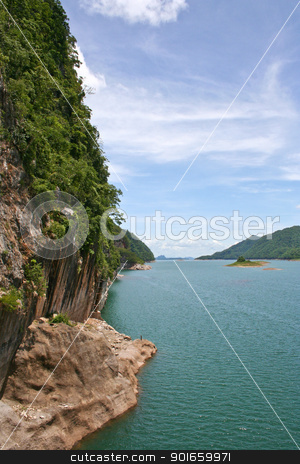 on dam srinakarin in thailand stock photo,  by audfriday13