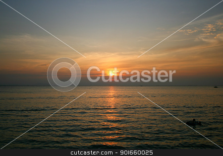 sunset in bangsan beach, thailand stock photo,  by audfriday13