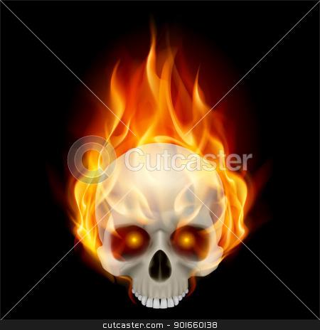 Burning skull stock photo, Burning skull in hot flame. Illustration on black background for design by dvarg