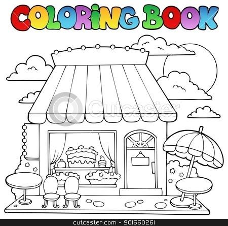 Coloring book cartoon candy store stock vector