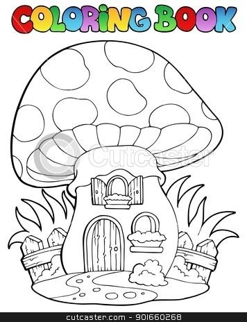 Coloring book mushroom house stock vector clipart, Coloring book mushroom house - vector illustration. by Klara Viskova