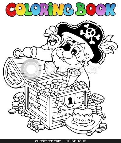 Coloring book with pirate theme 8 stock vector clipart, Coloring book with pirate theme 8 - vector illustration. by Klara Viskova