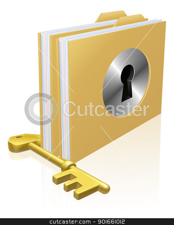 Secure file folder stock vector clipart, Folder or file with a keyhole locked with a key. Concept for privacy or data protection, or secure data storage etc.  by Christos Georghiou