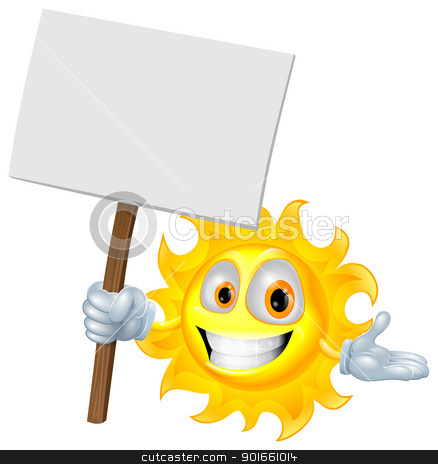 Sun character holding a sign board stock vector clipart, Illustration of a sun character holding a sign board by Christos Georghiou