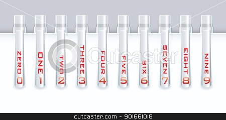Office pen numbers stock vector clipart, Collection of silver metal pens with numbers for template or website by Michael Travers