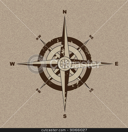 Canvas compass stock vector clipart, Retro grunge compass with material canvas background in brown by Michael Travers