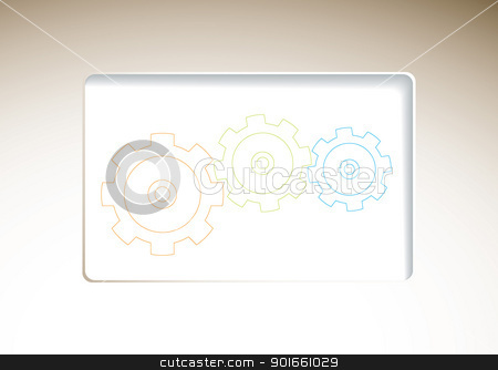 Business template cog stock vector clipart, Modern business template background with machine cogs and copyspace by Michael Travers