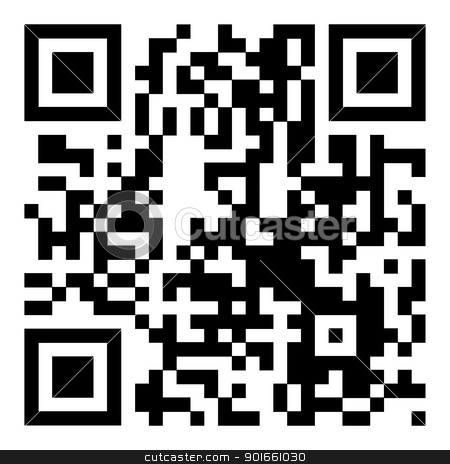 QR code large stock vector clipart, Modern bar code or QR code to scan with your mobile by Michael Travers