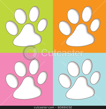 Animal Paw colourful stock vector clipart, Bright fun colourful animal print icons with shadow by Michael Travers