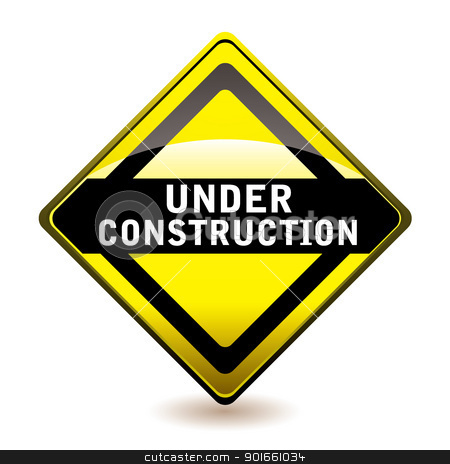 Under construction icon stock vector clipart, Yellow and black under construction website icon with shadow by Michael Travers