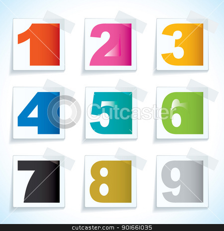 Number paper tags stock vector clipart, Nine paper tag with sticky tape and number elements by Michael Travers