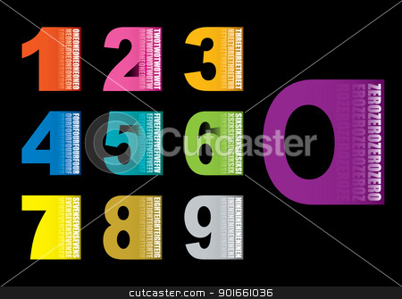 Copy space numbers stock vector clipart, Colourful numbers collection set icons with black background by Michael Travers