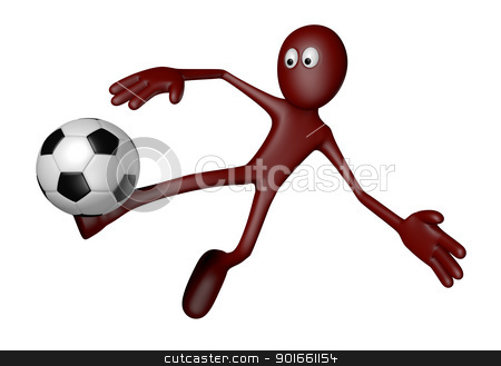 soccer stock photo, red guy with soccer ball - 3d illustration by J?