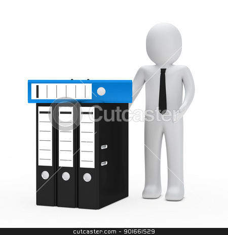 businessman folder stock photo, businessman with tie show blue black folder by d3images