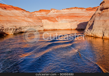 Antelope Canyon Reflection Lake Powell Arizona stock photo, White Canyon Blue Orange Water Reflection Glen Canyon Recreation Area Lake Powell Antelope Canyon Arizona by William Perry