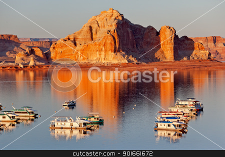 Castle Rock Wahweap Bay Marina House Boats Lake Powell Glen Cany stock photo, Castle Rock Reflection Wahweap Bay Marina House Boats Lake Powell Glen Canyon Recreation Area Arizona by William Perry