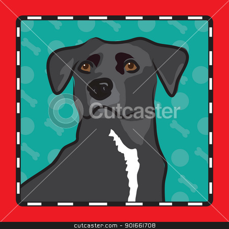 Mixed Breed Cartoon stock vector clipart, A cartoon image of an mixed breed dog, created in the folk art tradition. by Maria Bell
