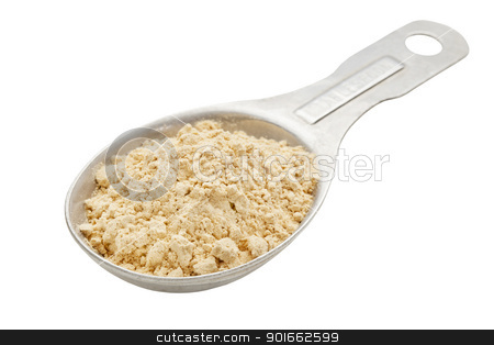 maca root powder on tablespoon stock photo, maca root powder (nutrition supplement - Incan superfood on an aluminum measuring tablespoon, isolated with a clipping path by Marek Uliasz