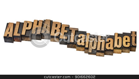 alphabet word abstract stock photo, alphabet word in upper and lower case - isolated text in vintage letterpress wood type by Marek Uliasz
