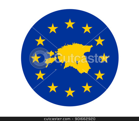 Estonia European flag stock photo, Map of Estonia on European Union flag with yellow stars. by Martin Crowdy