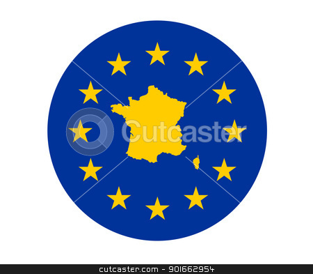 France European flag stock photo, Map of France on European Union flag with yellow stars. by Martin Crowdy