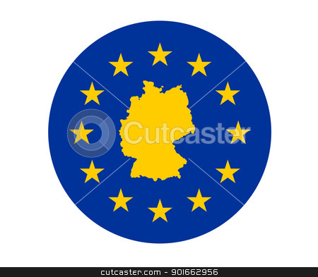 Germany European flag stock photo, Map of Germany on European Union flag with yellow stars. by Martin Crowdy