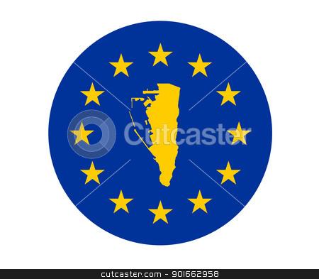 Gibraltar European flag stock photo, Map of Gibraltar on European Union flag with yellow stars. by Martin Crowdy