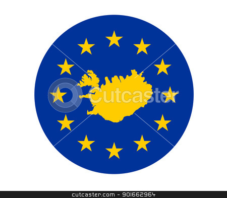Iceland European flag stock photo, Map of Iceland on European Union flag with yellow stars. by Martin Crowdy
