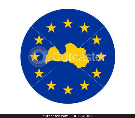 Latvia European flag stock photo, Map of Latvia on European Union flag with yellow stars. by Martin Crowdy