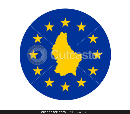 Luxembourg European flag stock photo, Map of Luxembourg on European Union flag with yellow stars. by Martin Crowdy