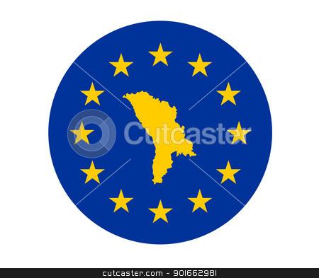 Moldova European flag stock photo, Map of Moldova on European Union flag with yellow stars. by Martin Crowdy