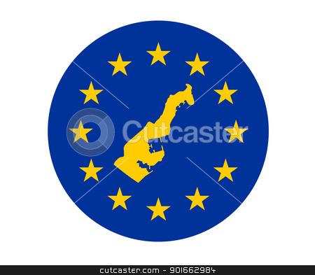 Monaco European flag stock photo, Map of Monaco on European Union flag with yellow stars. by Martin Crowdy
