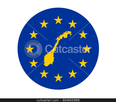 Norway European flag stock photo, Map of Norway on European Union flag with yellow stars. by Martin Crowdy