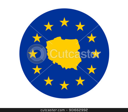 Poland European flag stock photo, Map of Poland on European Union flag with yellow stars. by Martin Crowdy